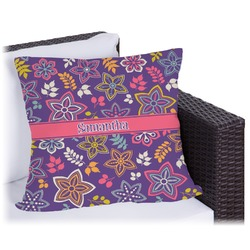 Simple Floral Outdoor Pillow (Personalized)