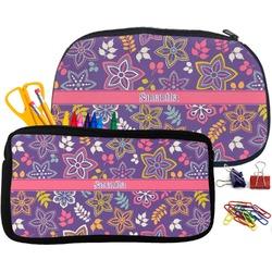 Simple Floral Pencil / School Supplies Bag (Personalized)