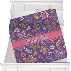 "Simple Floral Fleece Blanket - Twin / Full - 80""x60"" - Double Sided (Personalized)"