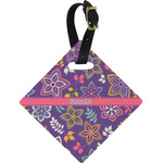 Simple Floral Diamond Luggage Tag (Personalized)