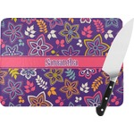 Simple Floral Rectangular Glass Cutting Board (Personalized)