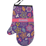 Simple Floral Left Oven Mitt (Personalized)