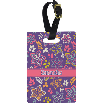 Simple Floral Rectangular Luggage Tag (Personalized)