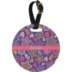 Simple Floral Round Luggage Tag (Personalized)