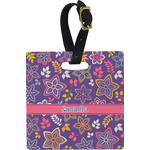 Simple Floral Square Luggage Tag (Personalized)