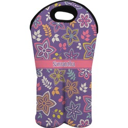Simple Floral Wine Tote Bag (2 Bottles) (Personalized)
