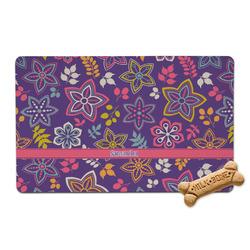 Simple Floral Pet Bowl Mat (Personalized)