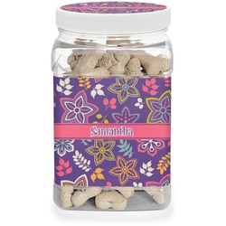 Simple Floral Pet Treat Jar (Personalized)
