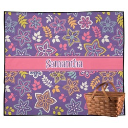 Simple Floral Outdoor Picnic Blanket (Personalized)