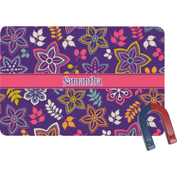 Simple Floral Rectangular Fridge Magnet (Personalized)