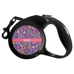Simple Floral Retractable Dog Leash (Personalized)