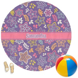 Simple Floral Round Beach Towel (Personalized)