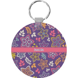 Simple Floral Round Plastic Keychain (Personalized)