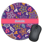 Simple Floral Round Mouse Pad (Personalized)