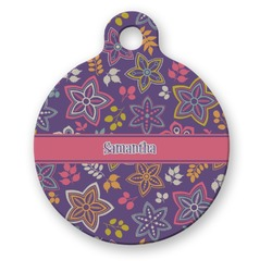 Simple Floral Round Pet Tag (Personalized)