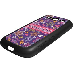 Simple Floral Rubber Samsung Galaxy 3 Phone Case (Personalized)