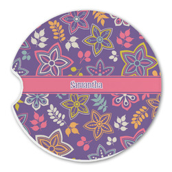 Simple Floral Sandstone Car Coaster - Single (Personalized)