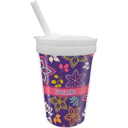 Simple Floral Sippy Cup with Straw (Personalized)