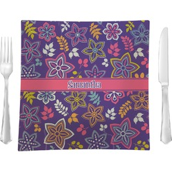 """Simple Floral 9.5"""" Glass Square Lunch / Dinner Plate- Single or Set of 4 (Personalized)"""