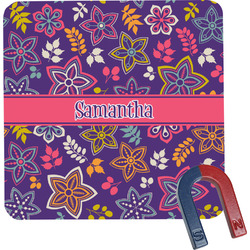 Simple Floral Square Fridge Magnet (Personalized)