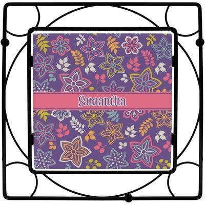 Simple Floral Square Trivet (Personalized)