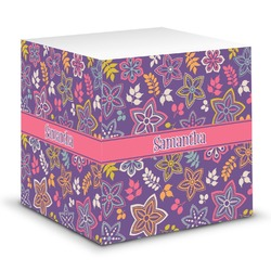 Simple Floral Sticky Note Cube (Personalized)