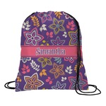 Simple Floral Drawstring Backpack (Personalized)