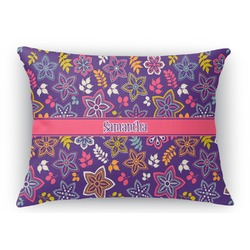 Simple Floral Rectangular Throw Pillow Case (Personalized)
