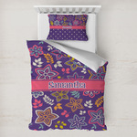 Simple Floral Toddler Bedding w/ Name or Text