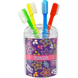 Simple Floral Toothbrush Holder (Personalized)