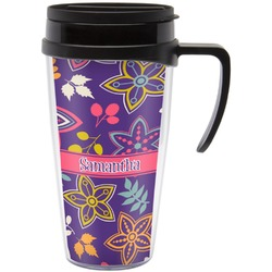 Simple Floral Travel Mug with Handle (Personalized)