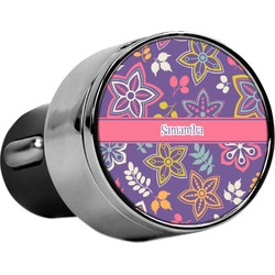 Simple Floral USB Car Charger (Personalized)