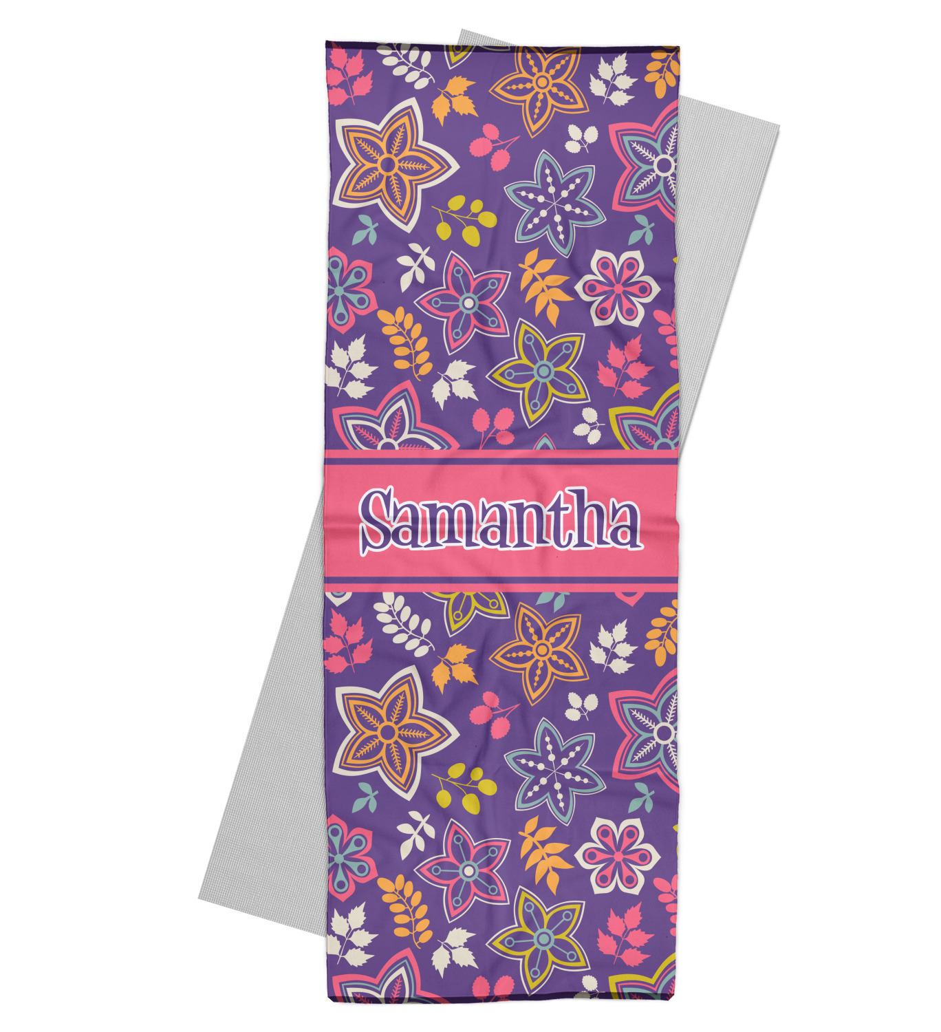 Simple Floral Yoga Mat Towel (Personalized)