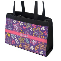 Simple Floral Zippered Everyday Tote (Personalized)