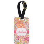 Abstract Foliage Metal Luggage Tag w/ Name or Text