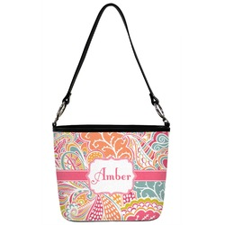 Abstract Foliage Bucket Bag w/ Genuine Leather Trim (Personalized)