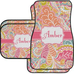 Abstract Foliage Car Floor Mats Set - 2 Front & 2 Back (Personalized)