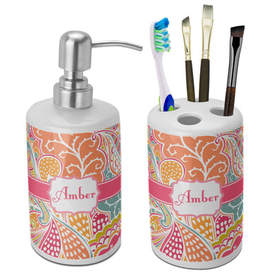Abstract Foliage Bathroom Accessories Set (Ceramic) (Personalized)