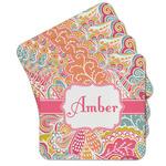 Abstract Foliage Cork Coaster - Set of 4 w/ Name or Text