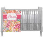 Abstract Foliage Crib Comforter / Quilt (Personalized)
