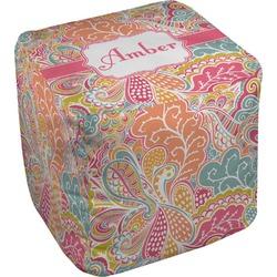 "Abstract Foliage Cube Pouf Ottoman - 18"" (Personalized)"
