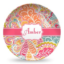 Abstract Foliage Microwave Safe Plastic Plate - Composite Polymer (Personalized)