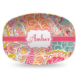 Abstract Foliage Plastic Platter - Microwave & Oven Safe Composite Polymer (Personalized)