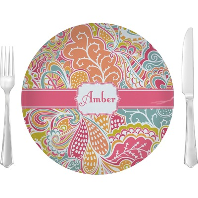 "Abstract Foliage 10"" Glass Lunch / Dinner Plates - Single or Set (Personalized)"