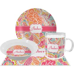 Abstract Foliage Dinner Set - Single 4 Pc Setting w/ Name or Text