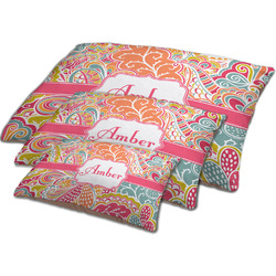 Abstract Foliage Dog Bed w/ Name or Text