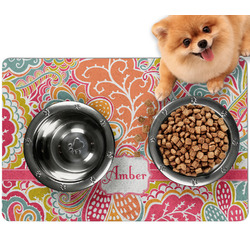 Abstract Foliage Dog Food Mat - Small w/ Name or Text