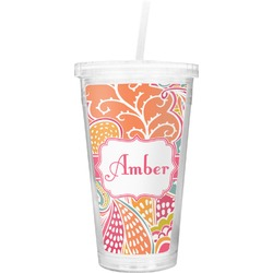 Abstract Foliage Double Wall Tumbler with Straw (Personalized)