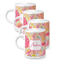 Abstract Foliage Espresso Mugs - Set of 4 (Personalized)