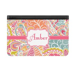 Abstract Foliage Genuine Leather ID & Card Wallet - Slim Style (Personalized)